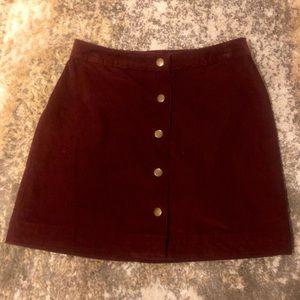 Old Navy Corduroy Snap Button Plum/Maroon Skirt